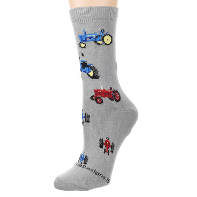 Red and Blur Tractor Crew Sock on Gray (left)