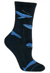 Whales on Navy Cotton Crew Socks