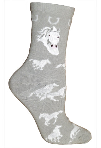 White Horse Crew Socks on Gray