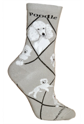Poodle, White on Gray Crew Socks