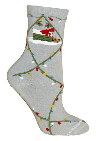 Dog & Holiday Lights Crew Socks on Gray
