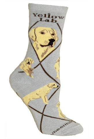Labrador Retriever, Yellow on Gray Crew Socks