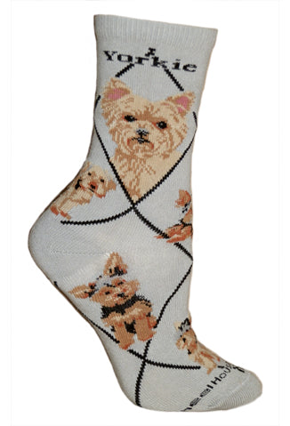 Puppy Cut Yorkshire Terrier on Gray Crew Socks