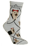 Yorkshire Terrier Crew Socks on Gray