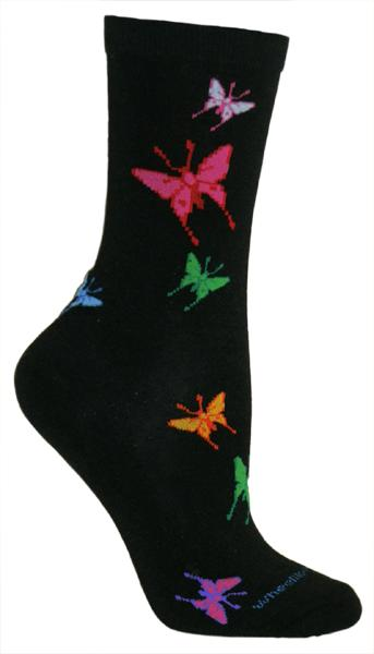 Colorful Butterfly Lightweight Crew Socks on Black