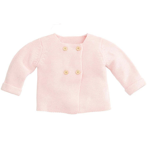 knit double button sweater - pastel pink