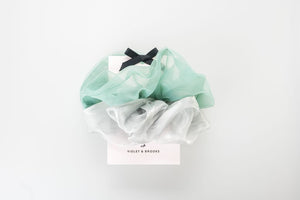 Mint Lucy Oversized Scrunchie Duo