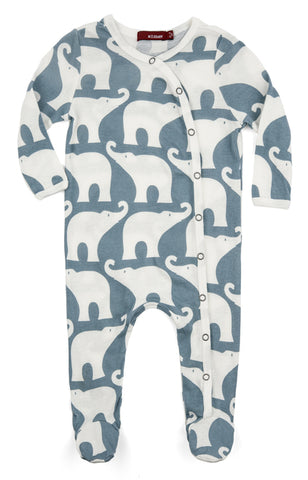 Blue Elephant Footed Romper