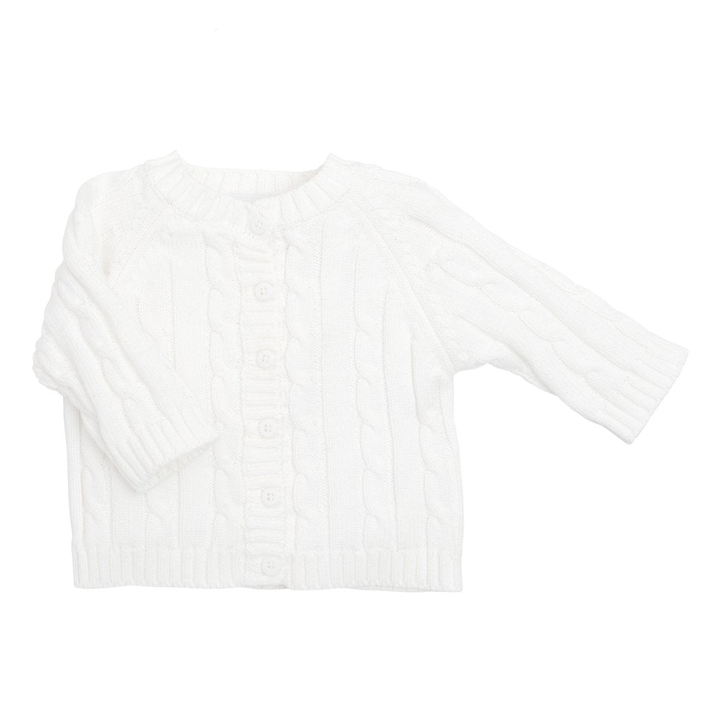 classic cable white sweater