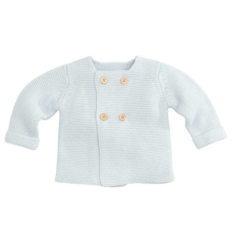 knit double button sweater - pastel blue
