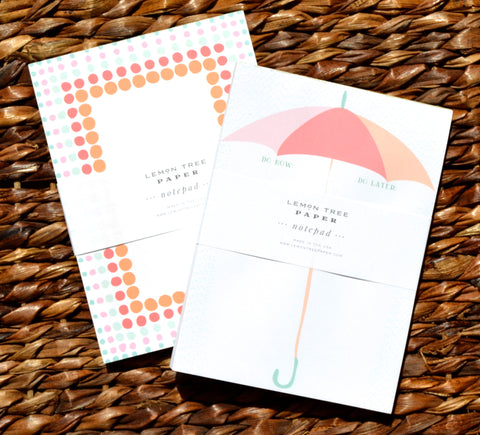 UMBRELLA AND SHRINKING DOTS NOTEPAD SET