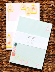 PARIS AND PINK BIRDS NOTEPAD SET