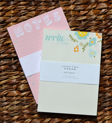 FLOWERS AND NOTES NOTEPAD SET
