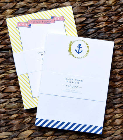 YELLOW STRIPE AND ANCHOR NOTEPAD SET