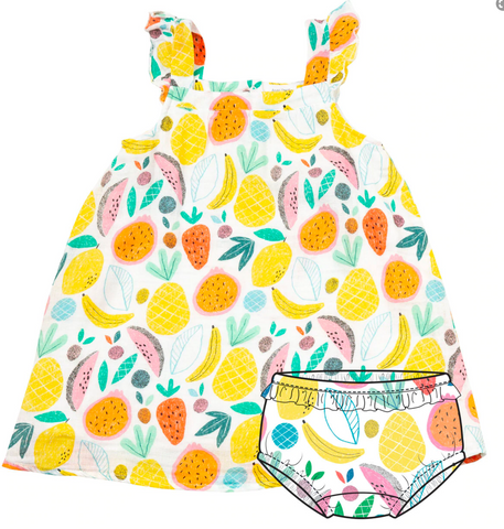 Sundress and Diaper Cover Tropical Fruit