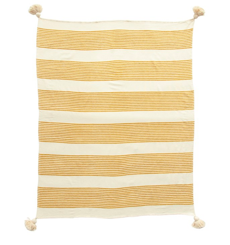Cotton and Chenille Throw-Mustard Stripe