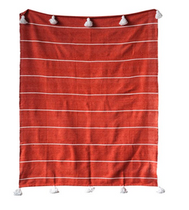 Cotton Striped Throw-Orange