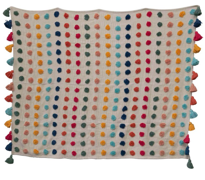 Woven Cotton Throw Multi-color