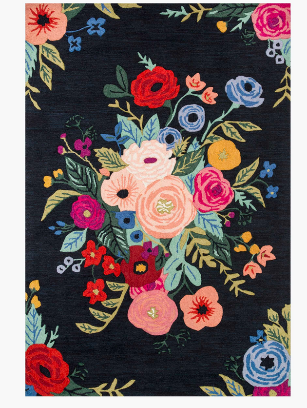 Rifle Juliet Rose Bouquet Wool Hooked Rug-Black
