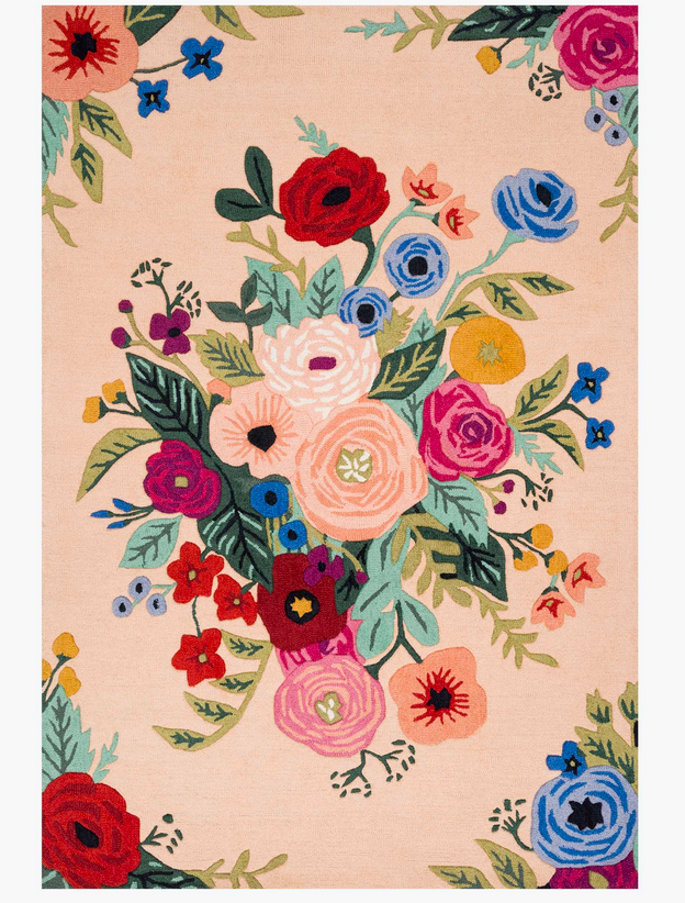 Rifle Juliet Rose Bouquet Wool Hooked Rug-Blush