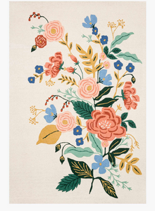 Rifle Floral Vines Wool Hooked Rug-Ivory