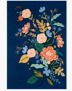 Rifle Floral Vines Wool Hooked Rug-Indigo