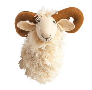 Wool and Felt Ram Head Wall Decor