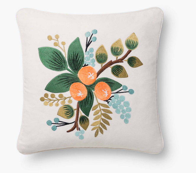 Rifle Blooms and Twigs Embroidered Pillow