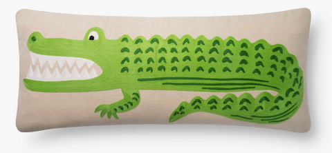 Rifle Alligator Embroidered Pillow