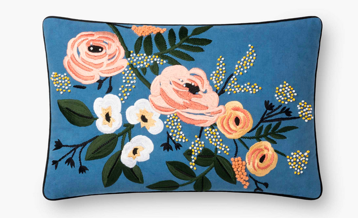 Rifle Floral Embroidered Pillow
