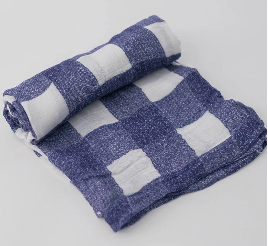 Little Unicorn Swaddle-Blue Plaid