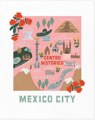 Mexico City Map Art Print