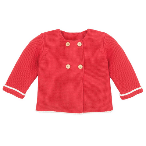 knit double button sweater - cardinal red