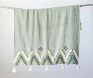 Woven Embroidered Throw