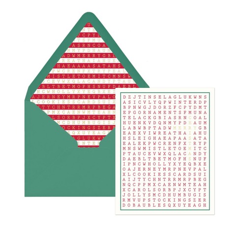Merry Christmas Word Search Cards