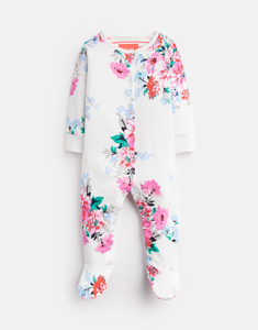 Striped Floral Jersey Babygrow