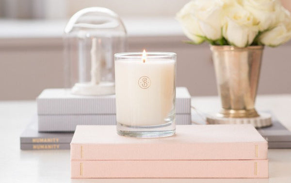 pale pink petal candle