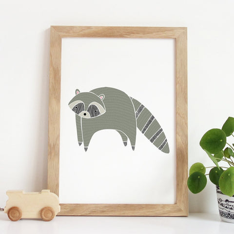 Woodland Raccoon Art Print