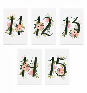 Floral Table Numbers [11-15]