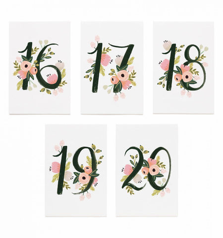 Floral Table Numbers [16-20]