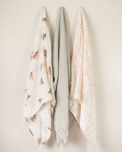 Cotton Swaddle Set - Watercolor Rose