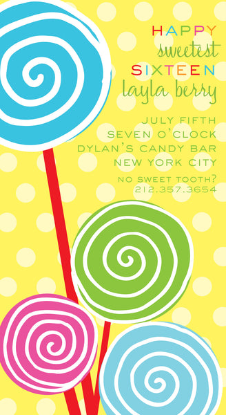 Lollipops Invite 6x11