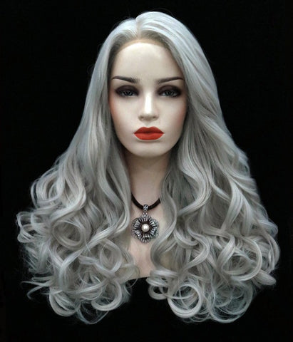 Elegant off-center part long wave silver haipiece