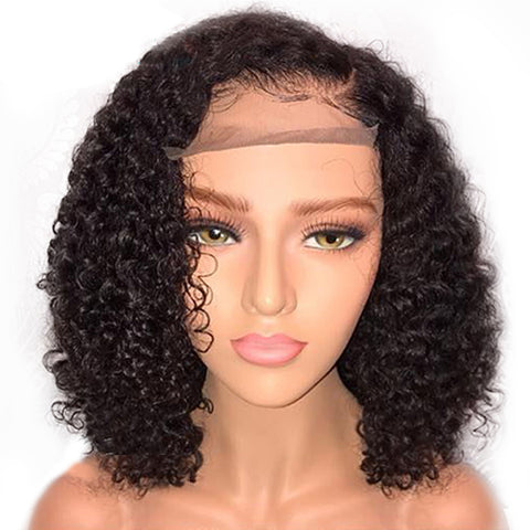 Elegant ladies short curly black hair hairpiece