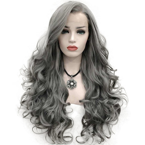 Fashion front lace long wavy gray hairpiece