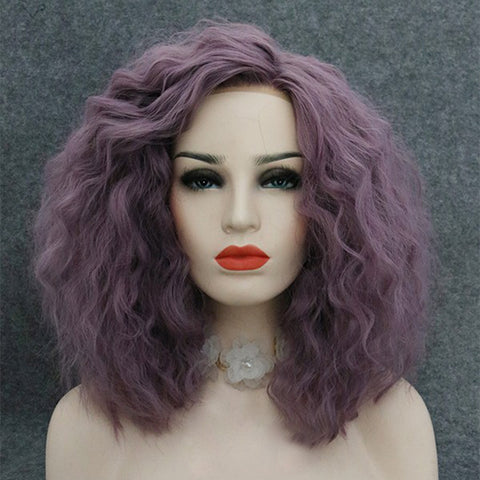 Punk style shoulder-length natural wavy purple hairpiece