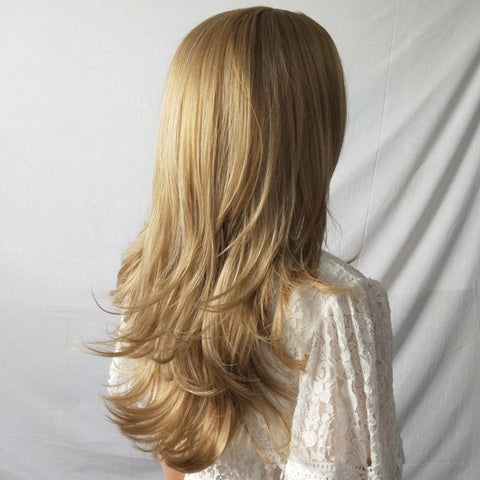 Mid Section Fashion Lady with Long Curly Hair Wig