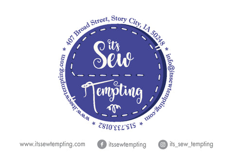 It's Sew Tempting logo and social tags