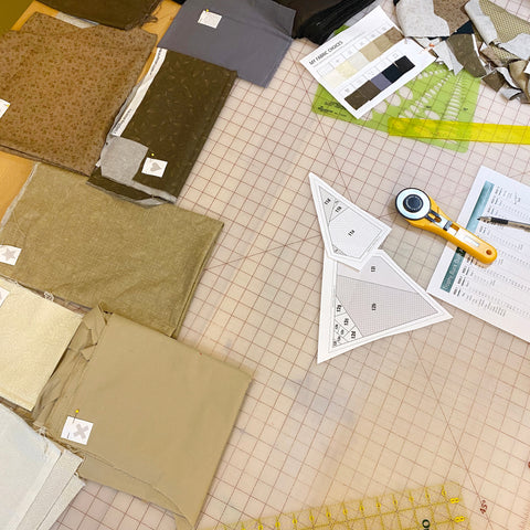 Prepped materials for quilt along