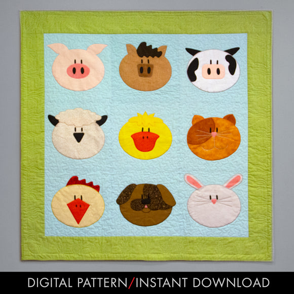 digital download of an easy applique farm animal baby quilt pattern